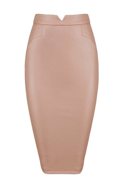 Honey Couture JANINE Vegan Leather Beige Pencil Skirt