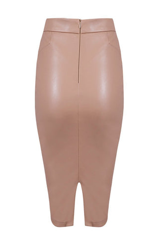 Honey Couture JANINE Vegan Leather Beige Pencil Skirt Honey Couture Honey Couture AfterPay ZipPay OxiPay Sezzle Free Shipping