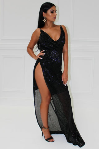 Honey Couture MILLIE Black Sequin Slit Front Evening Gown DressHoney CoutureHoney Couture AfterPay OxiPay ZipPay
