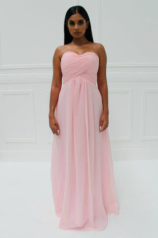 Honey Couture LARISSA Pink Chiffon Strapless Formal Gown Dress Honey Couture AfterPay ZipPay OxiPay Sezzle Free Shipping