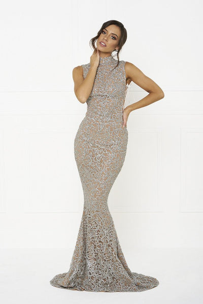 Honey Couture KAYLEE Nude Silver Glitter Formal Gown Dress