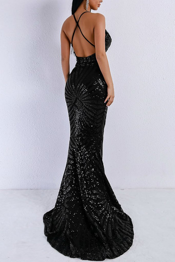 Honey Couture LILLEY Black Sequin Low Back Mermaid Evening Gown Dress