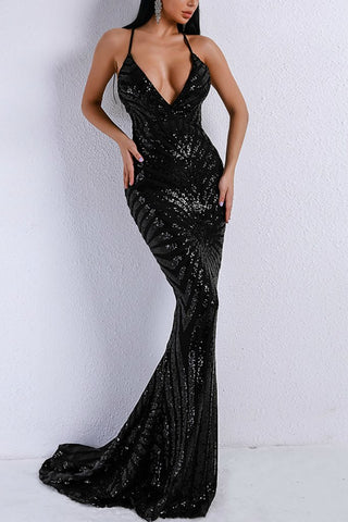 Honey Couture LILLEY Black Sequin Low Back Mermaid Evening Gown DressHoney CoutureHoney Couture AfterPay OxiPay ZipPay