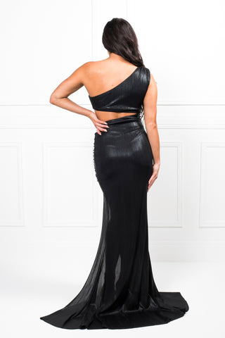 Honey Couture LUSTER Black Cut Out Formal Gown Dress