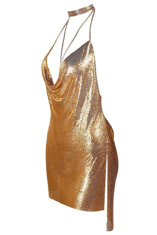 Honey Couture KENDALL Gold Metal Chain Low Back Dress Australian Online Store Honey Couture AfterPay ZipPay
