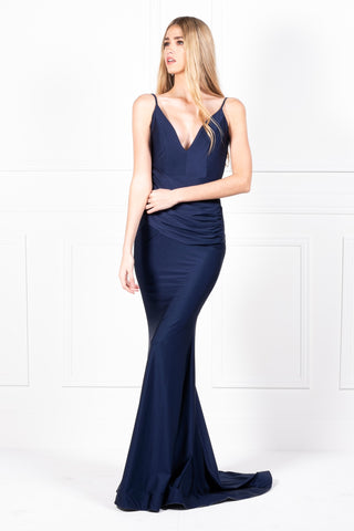 Honey Couture NIKOLE Navy Low Back Mermaid Evening Gown Dress