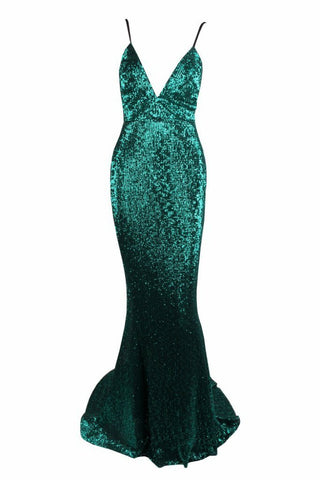Honey Couture ROSALIE Green Black Low Back Sequin Formal Gown Dress