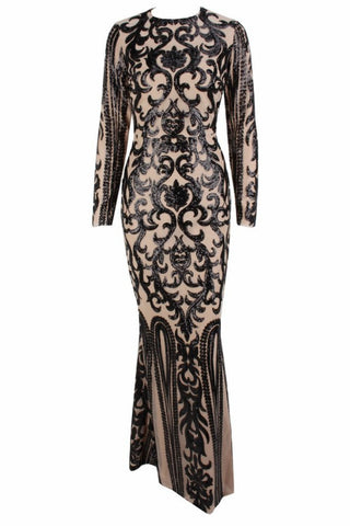 Honey Couture SIA Black & Nude Lace Long Sleeve Formal Gown AfterPay OxiPay ZipPay