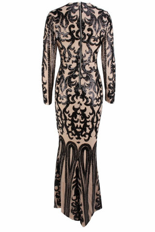 Honey Couture SIA Black & Nude Lace Long Sleeve Formal Gown Dress