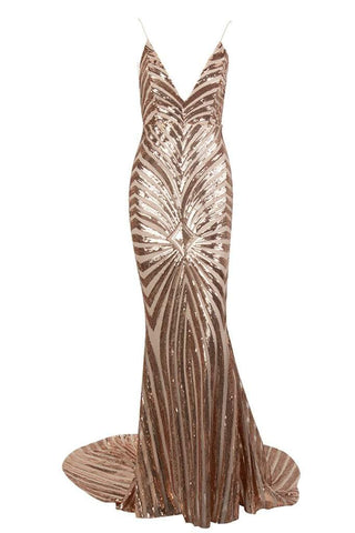 Honey Couture TILDA Gold Low Back Sequin Mermaid Formal Gown DressHoney CoutureHoney Couture AfterPay OxiPay ZipPay