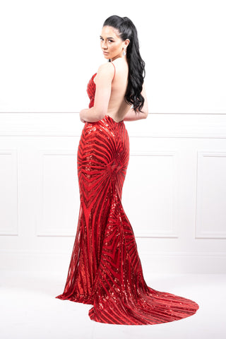 Honey Couture TILDA Red Low Back Sequin Formal Gown AfterPay OxiPay ZipPay