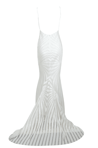 Honey Couture TILDA White Low Back Sequin Mermaid Formal Gown DressHoney CoutureHoney Couture AfterPay OxiPay ZipPay