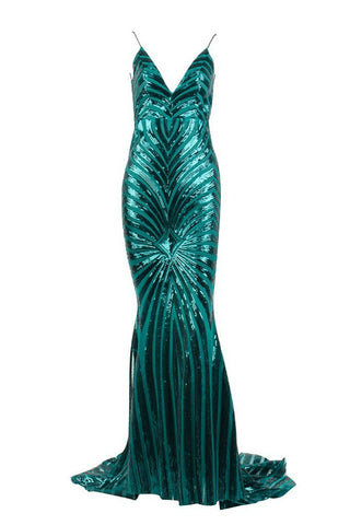 Honey Couture TILDA Emerald Green Low Back Sequin Formal Gown DressHoney CoutureHoney Couture AfterPay OxiPay ZipPay