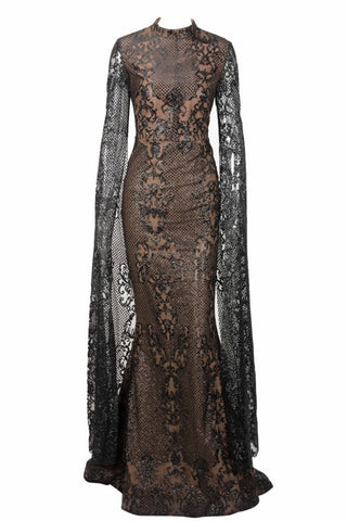 Honey Couture ZHAVA Black & Nude Lace Long Sleeve Formal Gown AfterPay OxiPay ZipPay