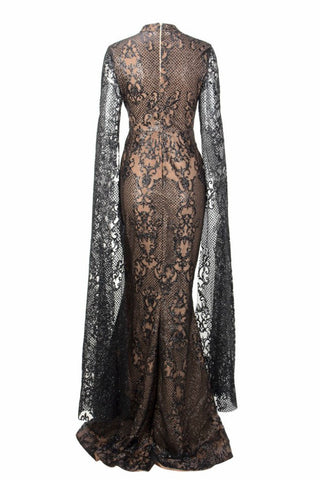 Honey Couture ZHAVA Black & Nude Lace Long Sleeve Formal Gown Dress
