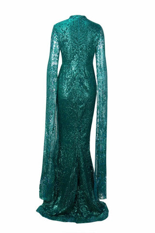 Honey Couture ZHAVA Emerald Green Lace Long Sleeve Formal Gown AfterPay OxiPay ZipPay