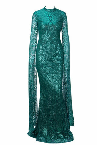 Honey Couture ZHAVA Emerald Green Lace Long Sleeve Formal Gown Dress Honey Couture Australian Designer Label AfterPay ZipPay Laybuy OxiPay Sezzle Free Shipping