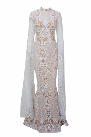 Honey Couture ZHAVA White Nude Lace Long Sleeve Formal Gown AfterPay OxiPay ZipPay