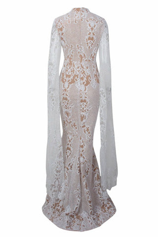 Honey Couture ZHAVA White Nude Lace Long Sleeve Formal Gown Dress Honey Couture Australian Designer Label AfterPay ZipPay Laybuy OxiPay Sezzle Free Shipping