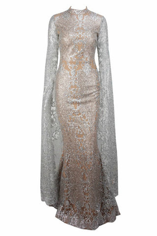 Honey Couture ZHAVA Silver Nude Lace Long Sleeve Formal Gown Dress