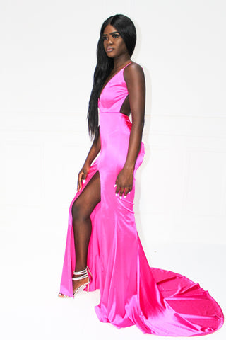 Honey Couture MILEE Hot Pink Low Back Mermaid Evening Gown Dress