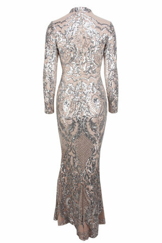 Honey Couture ZURI Silver & Nude Lace Long Sleeve Formal Gown Dress