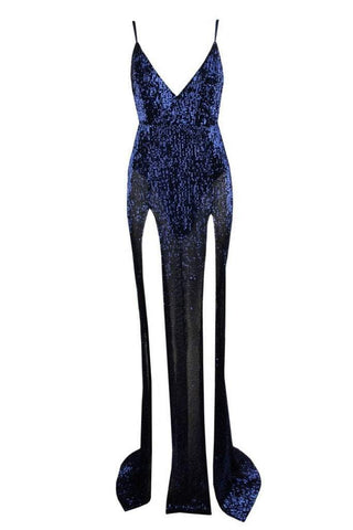 Honey Couture ALEXIA Blue Split Front Sequin Formal Gown Dress Honey Couture AfterPay ZipPay OxiPay Sezzle Free Shipping