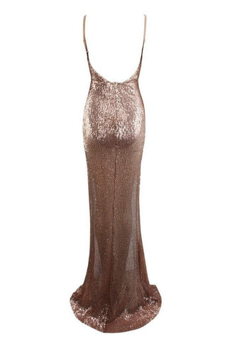 Honey Couture ALEXIA Champagne Gold Split Front Sequin Formal Gown DressHoney CoutureHoney Couture AfterPay OxiPay ZipPay