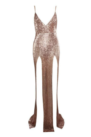 Honey Couture ALEXIA Champagne Gold Split Front Sequin Formal Gown Dress Honey Couture Honey Couture AfterPay ZipPay OxiPay Sezzle Free Shipping