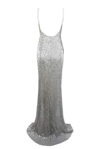 Honey Couture ALEXIA Silver Split Front Sequin Formal Gown DressHoney CoutureHoney Couture AfterPay OxiPay ZipPay