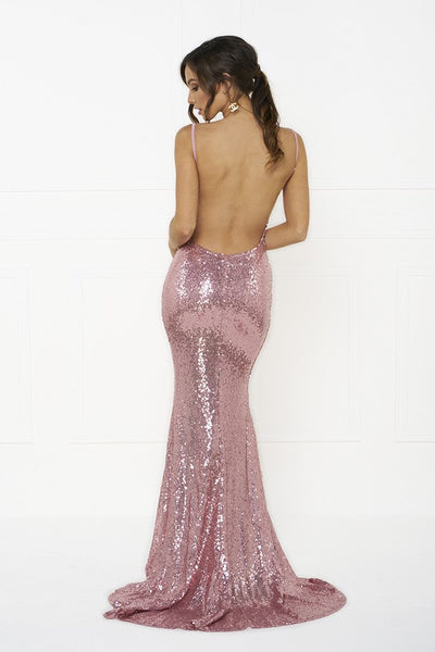 Honey Couture ELIZABETH Pink Low Back Sequin Formal Gown Dress