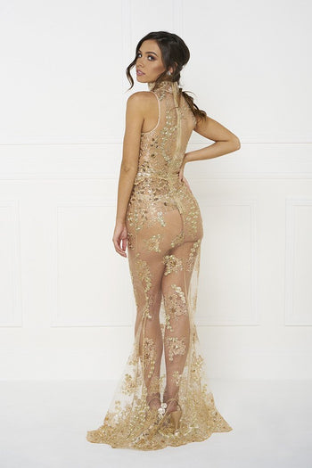 Honey Couture GABRIELLE Gold w Gold Scallop Embroided Tulle Formal Gown Dress