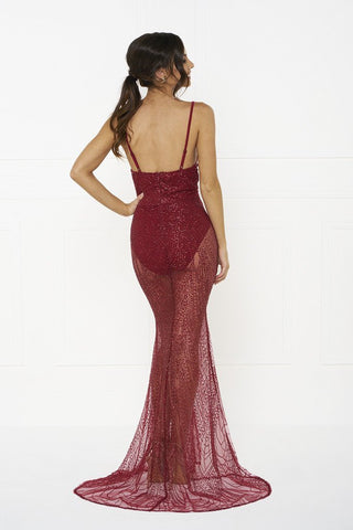 Honey Couture EVELYN Red Glitter Sheer Formal DressHoney CoutureHoney Couture AfterPay OxiPay ZipPay