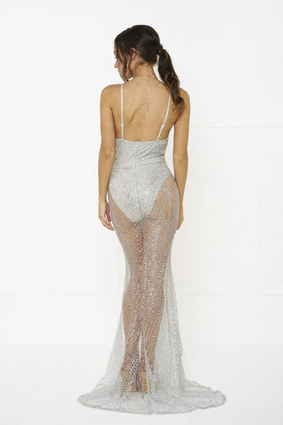 Honey Couture EVELYN Silver Glitter Sheer Formal DressHoney CoutureHoney Couture AfterPay OxiPay ZipPay