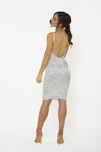Honey Couture MYLA Silver Sequin Low Back Mini Dress