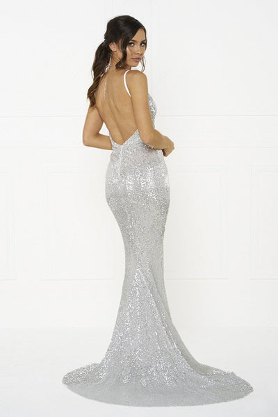 Honey Couture ROSALIE Silver Low Back Sequin Formal Gown Dress