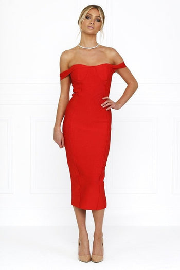 Bandage Dress - Honey Couture BECKY Red Off Shoulder Bustier Bandage Dress