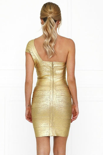 Bandage Dress - Honey Couture DANA Gold Foil One Shoulder Bandage Dress