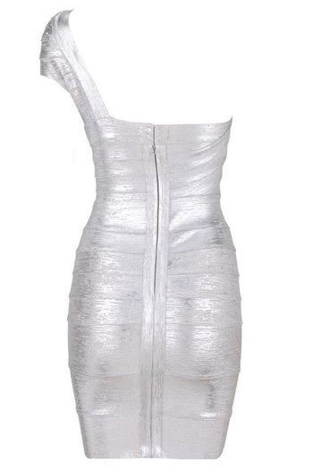 Bandage Dress - Honey Couture DANA Silver Foil One Shoulder Bandage Dress