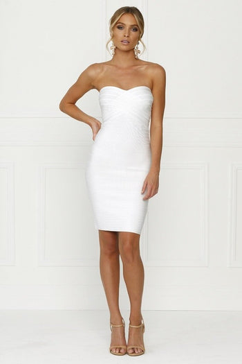 Bandage Dress - Honey Couture ESTELLE White Strapless Mini Length Bandage Dress