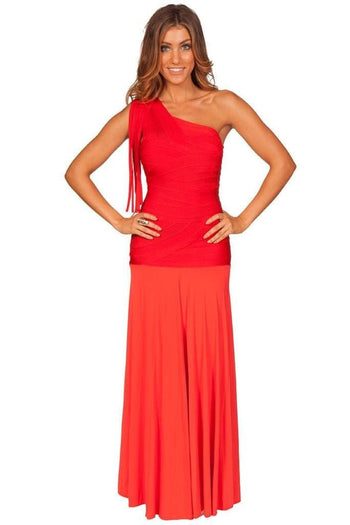 Bandage Dress - Honey Couture GISELLE Red Long Flowing Gown Bandage Dress