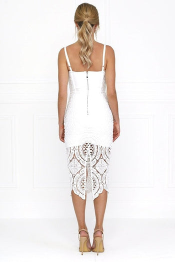 Bandage Dress - Honey Couture MICHELLE White Lace & Crochet Bustier Bodycon Dress