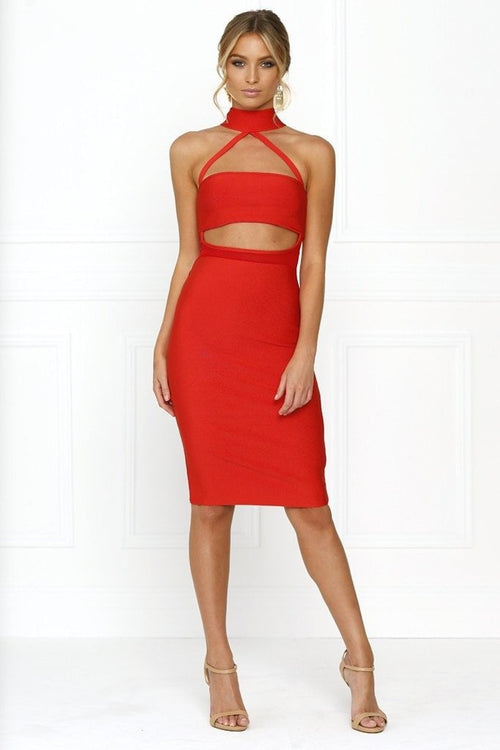 Bandage Dress - Honey Couture MISHA Red Mesh Halter Bandage Dress