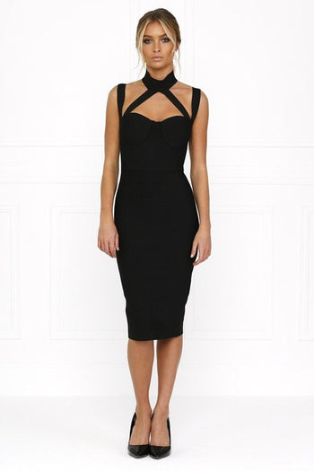 Bandage Dress - Honey Couture NINA Black Halter Bustier Bandage Dress