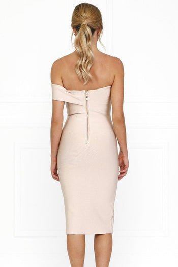 Bandage Dress - Honey Couture SAVANNAH Baby Pink Off Shoulder Bandage Dress