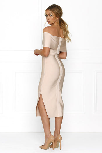 Bandage Dress - Honey Couture SOPHIE Pink Off Shoulder Bandage Dress W Split