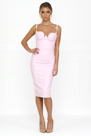 Bandage Dress - Honey Couture VIXEN Baby Pink Vegan Leather Bodycon Dress
