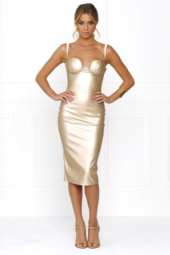 Bandage Dress - Honey Couture VIXEN Metallic Gold Vegan Leather Bodycon Dress