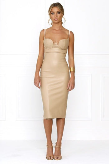 Bandage Dress - Honey Couture VIXEN Nude Vegan Leather Bodycon Dress