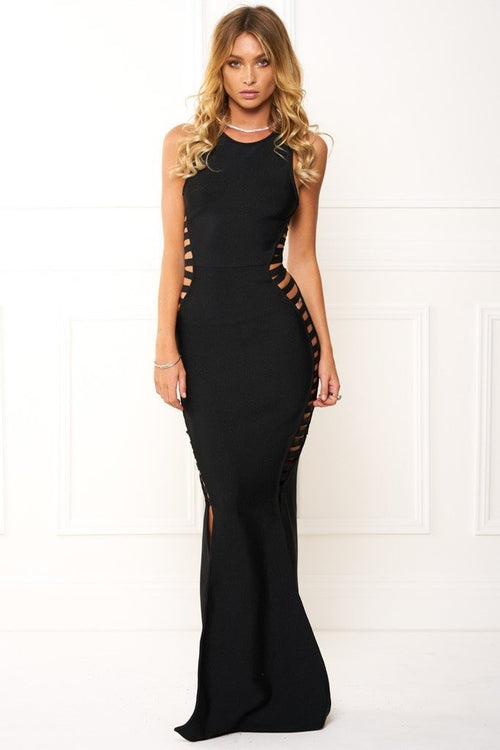 Honey Couture EMMY Black High Neck Cut Out Bandage Maxi Formal Dress Australian Online Store Honey Couture AfterPay ZipPay